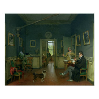 Interior of a Dining Room, 1816 Poster
