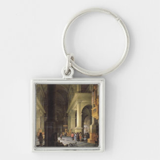 Interior of a Temple, 1652 Silver-Colored Square Keychain