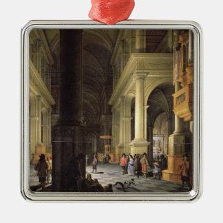 Interior of a Temple, 1652 Silver-Colored Square Ornament