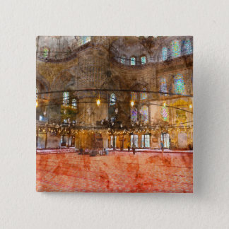 Interior of Blue Mosque in Istanbul Turkey 2 Inch Square Button