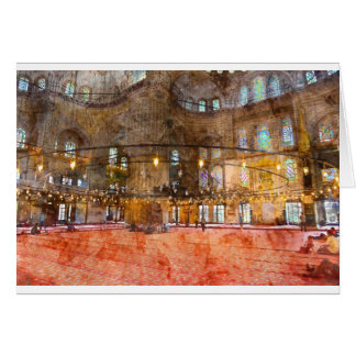 Interior of Blue Mosque in Istanbul Turkey Card