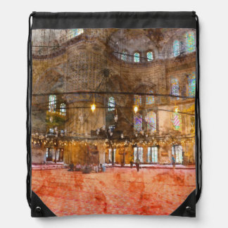 Interior of Blue Mosque in Istanbul Turkey Drawstring Bag