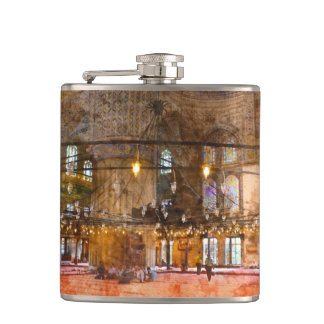 Interior of Blue Mosque in Istanbul Turkey Hip Flask