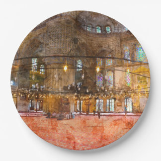 Interior of Blue Mosque in Istanbul Turkey Paper Plate