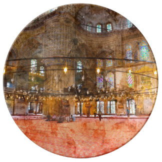 Interior of Blue Mosque in Istanbul Turkey Plate