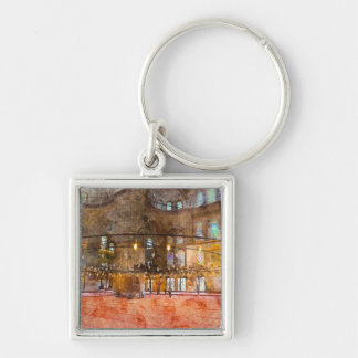 Interior of Blue Mosque in Istanbul Turkey Silver-Colored Square Keychain
