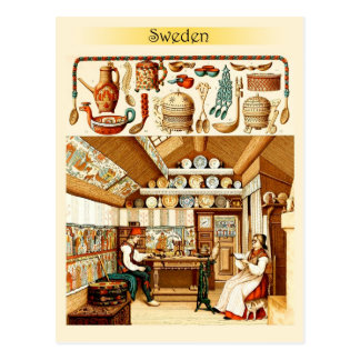 Interior of Swedish House (furniture and cookware) Postcard
