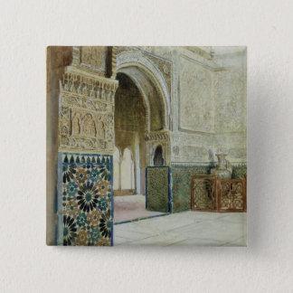 Interior of the Alhambra, Granada (w/c) 2 Inch Square Button