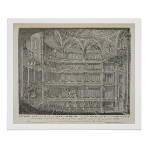 Interior of the Late Theatre Royal, Drury Lane, in Poster