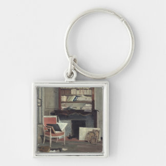 Interior of the Study of Doctor X Silver-Colored Square Keychain