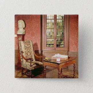 Interior of the study of Honore de Balzac 2 Inch Square Button