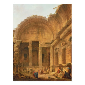 Interior of the Temple of Diana at Nimes, 1787 Postcard