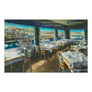 Interior View of the Vista del Mar Restaurant Poster