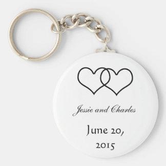 Interlocked Hearts - Black and White Basic Round Button Keychain