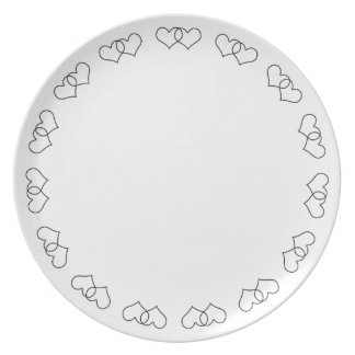 Interlocked Hearts - Black and White Dinner Plate