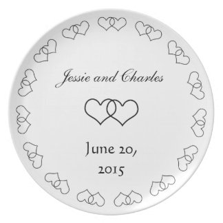 Interlocked Hearts - Black and White Party Plates