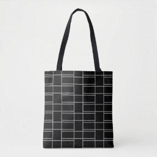 Interlocking Black and White Rectangle Pattern Tote Bag