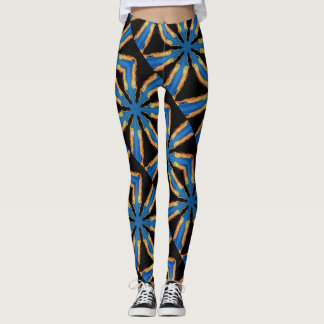 interlocking blue stars geometric design leggings