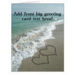 Interlocking Hearts on Beach Sand Large Greeting Card