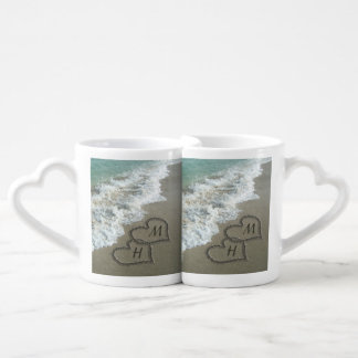 Interlocking Hearts on Beach Sand Coffee Mug Set
