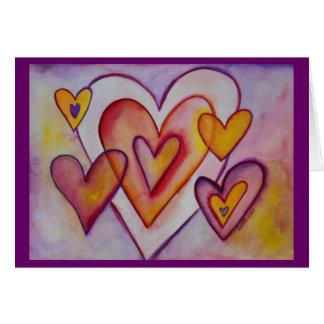 Interlocking Love Hearts Custom Greeting Cards