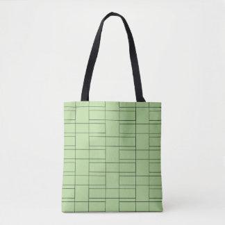 Interlocking Thin Black Rectangle Geometry Pattern Tote Bag