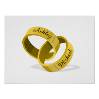 Interlocking Wedding Rings - Engrave YOUR names Poster