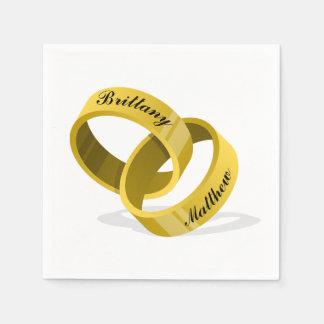 Interlocking Wedding Rings - Engraved custom Names Disposable Napkin