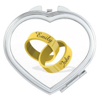 Interlocking Wedding Rings - Engraved custom Names Mirrors For Makeup