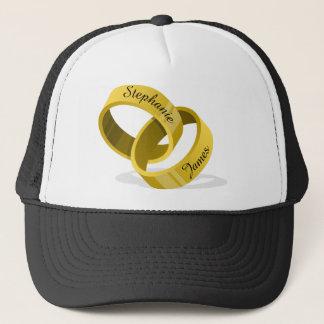 Interlocking Wedding Rings - Engraved custom Names Trucker Hat