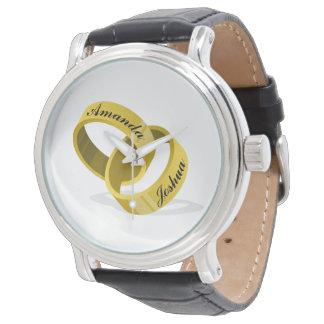 Interlocking Wedding Rings - Engraved custom Names Wristwatch