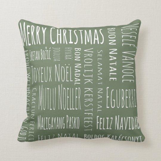 International Christmas Green Throw Pillow