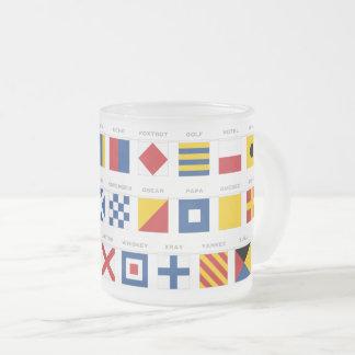 International Code of Signals Alphabet Frosted Glass Coffee Mug