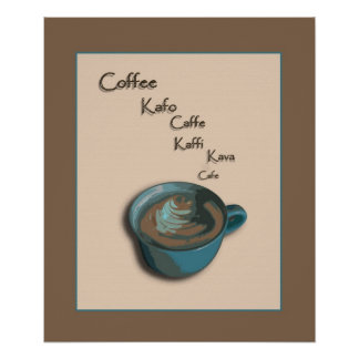 International Coffee Cup Poster Print