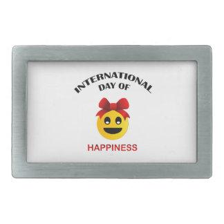 International Day of Happiness Rectangular Belt Buckles