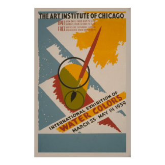 International Exhibition Of Watercolors Vintage Poster