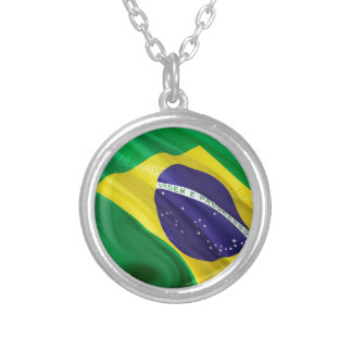 International Flag Brazil Silver Plated Necklace