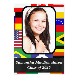 "International flags photo graduation 5"" x 7"" invitation card"