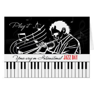 International Jazz Day Piano Keys and Musician Card