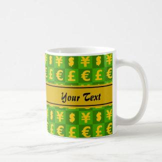 International money currencies signs pattern coffee mug