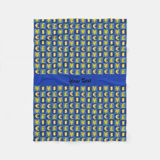 International money currencies signs pattern fleece blanket