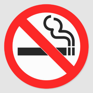 International official symbol no smoking sign classic round sticker
