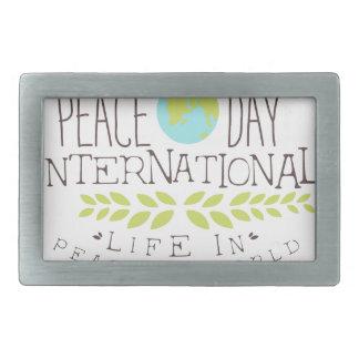 International Peace Day Label Designs In Pastel Co Belt Buckle
