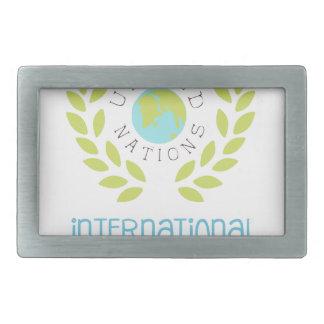 International Peace Day Label Designs In Pastel Co Rectangular Belt Buckle