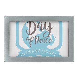 International Peace Day Label Designs Rectangular Belt Buckle