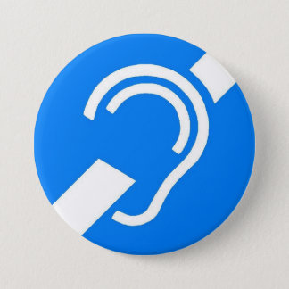 International Symbol for the Deaf 3 Inch Round Button