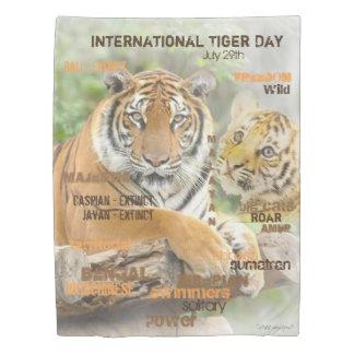 International Tiger Day, July 29, Typography Art Duvet Cover
