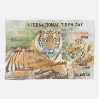 International Tiger Day, July 29, Typography Art Kitchen Towel