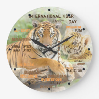 International Tiger Day, July 29, Typography Art Large Clock