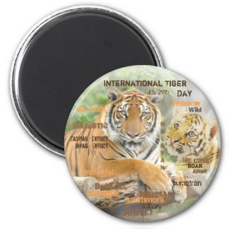 International Tiger Day, July 29, Typography Art Magnet